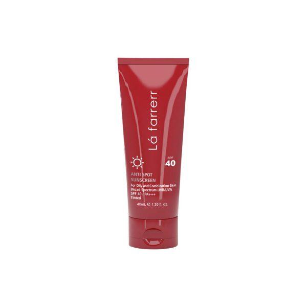 کرم ضد آفتاب و ضد لک رنگی SPF40 لافارر مناسب پوست های چرب و مستعد آکنه حجم 40 میل رنگ برنز