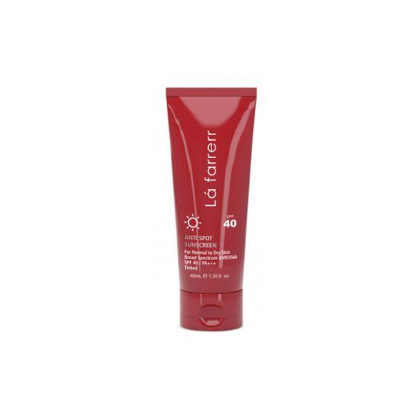 کرم ضد آفتاب و ضد لک رنگی SPF40 لافارر مناسب پوست های خشک و معمولی حجم 40 میل رنگ برنز