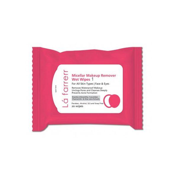 دستمال مرطوب آرایش پاک کن لافارر مناسب انواع پوست 20 عددی